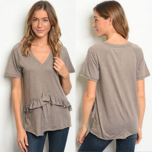 Womens vneck tshirt with ruffle detail